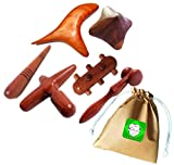 Lungcha Traditional Thai Massage Wooden Stick Tool, Reflexology, Acupuncture Point Gua Sha for Body, Foot, Hand, Head, Face, Nose, Neck, Back, Waist Massage (Set 6 Full Body Massage)