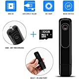 Mini Body Camera DZFtech Body Spy Cam HD 1080P Wireless Portable Hidden Spy Pen Body Cameras Wearable Video Recorder with Clip and USB Plug/Easy Press to Record for Home/Office