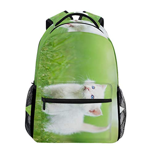 Backpack Persian White Cat Grass Womens Laptop Backpacks Hiking Bag Travel Daypack