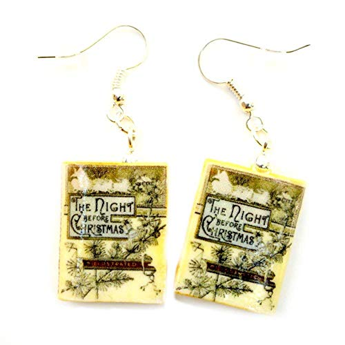 'Twas The Night Before Christmas Clement C. Moore Clay Mini Book Hypoallergenic Earrings