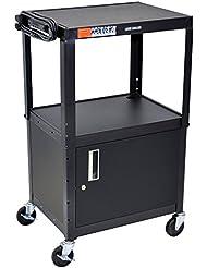 Luxor H Wilson AVJ42C Adjustable Height Black 2 Shelf A V Cart With Locking Cabinet