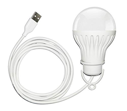 Saish Solutions Bright USB LED Bulb of 5 Volts 6 Watts, Along with 6 Feet Long Cable (White).