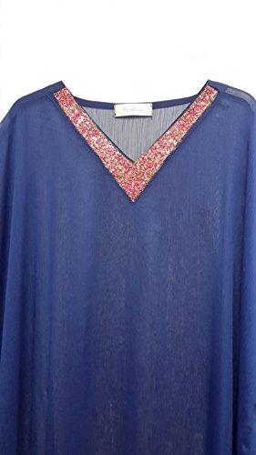 (15068) Femmes en Mousseline de Soie Teinte Plate Tisse a Long Caftan. Une Taille Adaptee UK 10-32