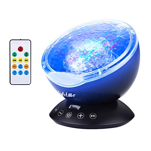LightMe Colorful Ocean Wave Projector, Touch Sensor 12 LED & 7 Color Night Lights with 4 Hypnotic Musics & Remote Control in Living Room Bedroom for Baby Kids Adults(Black)