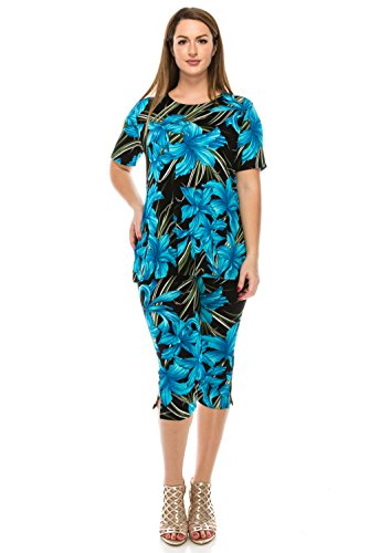 Flower Capri Set - Jostar Women's Stretchy Capri Pant Set Short Sleeve Print Medium Turquoise Flower
