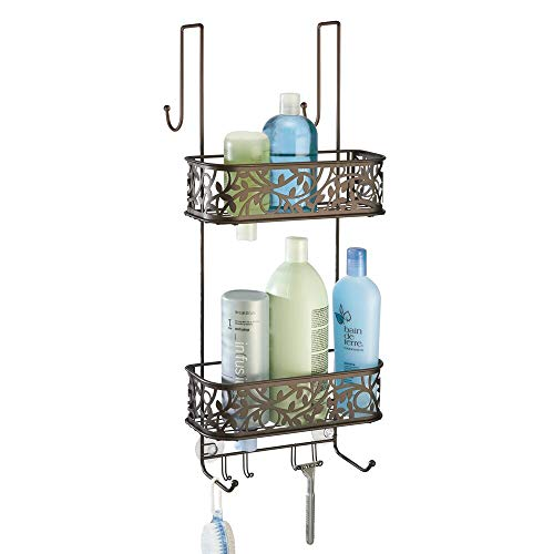Caddy Door Shower Over The - mDesign Metal Over Door Bathroom Tub & Shower Caddy, Hanging Storage Organizer Center - Holds Shampoo, Conditioner, Body Wash, Razor, Dry Towel - 2 Baskets, 8 Hooks, Floral Design - Bronze