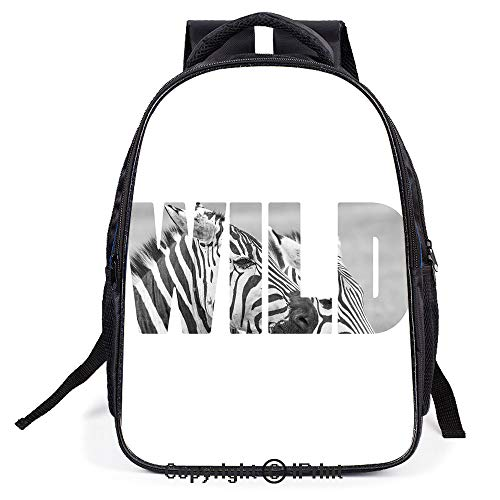 (Casual Fashion School Backpack,Word Wild over Zebras Picture Safari Animals Adventure Travelling Theme Art,L11.8xW6.3xH15.7inch)
