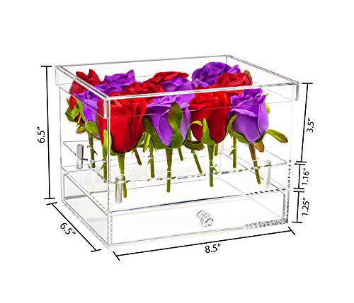 Better Display Cases Clear Acrylic Flower Display Case with Drawer for Wedding and Home A093