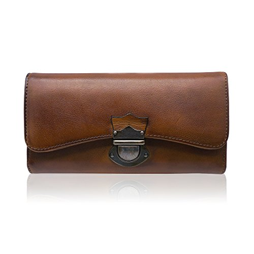 Women's Wallet Large Capacity Ladies Real Leather Clutch (Brown)