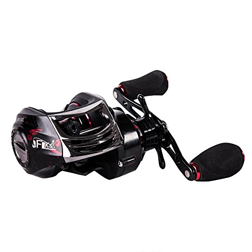 Reel Baitcast Red - Entsport New Baitcasting Reel 14+1 Ball Bearings Low Profile Casting Reel 6.3:1 Baitcaster Fishing Reel Ultra Smooth Magnetic Brake System Baitcast Reel Bait Casting Fishing Reel (Left Handed-Red)