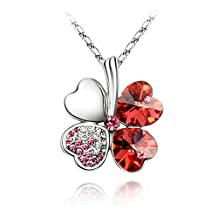 Acefeel Heart Shaped Four Leaf Clover Made with Swarovski Element Crystal Pendant Necklace Fashion Jewelry N121