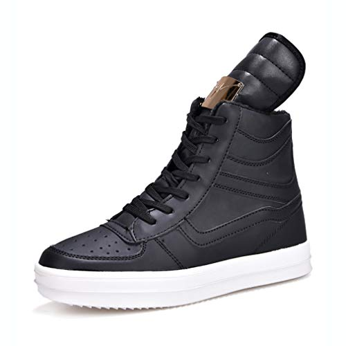 Hy Men's Casual Shoes Winter High-top Plus Cashmere Casual Sneakers Shoes/Tide Flow Lace-up Deck Shoe White Black (Color : Black, Size : -