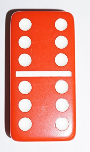 Jumbo Double Six Dominoes - Red Double 6 Jumbo Size Red Domino Tiles in Snap Vinyl Case
