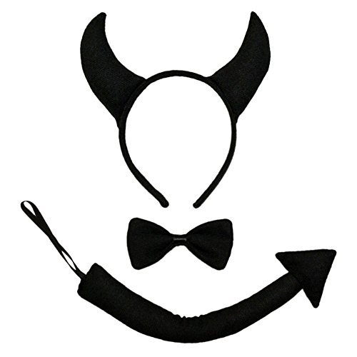 [Black Devil Horns, Tail, & Bow Tie Costume Set ~ Halloween Costume Kit] (Fun Cheap Easy Halloween Costumes)