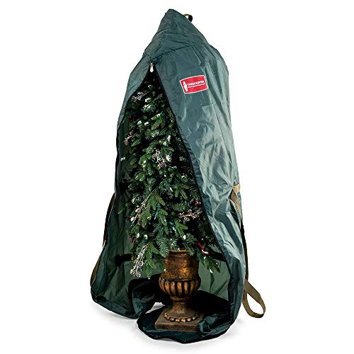 [Upright Foyer Tree Storage Bag] - 6 Foot Christmas Tree Storage Bag for Topiary Style Artificial Trees up to 6 Feet Tall - Keep Your Fake Tree Standing and Assembled with Ornaments (Best Way To Store Artificial Christmas Tree)