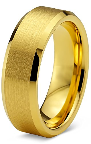 Tungsten Wedding Band Ring 6mm for Men Women Comfort Fit 18K Yellow Gold Plated Beveled Edge Brushed Polished Size 9 (Yellow Gold Plated Edge)