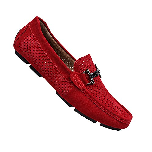 Scarpe da per Color morbidi Mocassini uomo Leggero Fitting in Slip Wider cavo antiscivolo Nero da 43 Levigati EU Red Hollow pelle guida On Dimensione barca Mocassini e Ofgcfbvxd casual CnH71vx