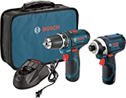 Bosch Power Tools Combo Kit CLPK22-120 - 12-Volt Cordless Tool Set (Drill/Driver and Impact Driver) with 2 Bat