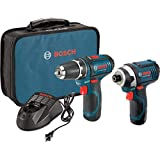 Bosch Power Tools Combo Kit CLPK22-120 - 12-Volt Cordless Tool Set (Drill/Driver and Impact Driver) with 2 Batteries, Charger and Case