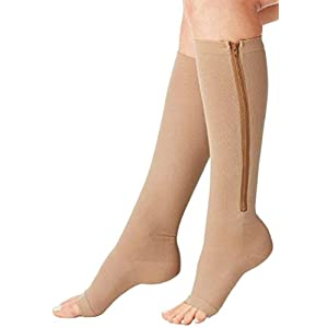 Aniwon Compression Socks Toe Open Leg Support Stocking Knee High Socks with Zipper
