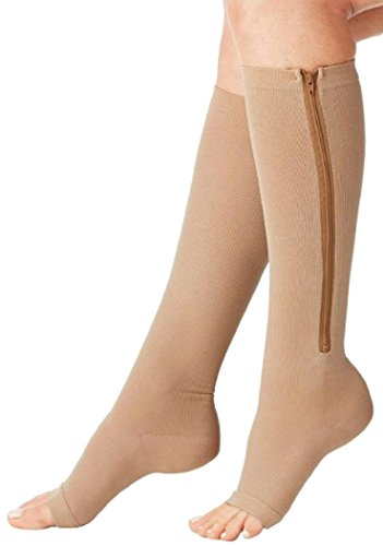 Med Leg Beige Toe Right (Aniwon Compression Socks Toe Open Leg Support Stocking Knee High Socks with Zipper,Beige,Medium)