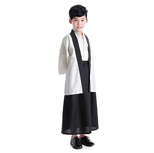 SSJ:Hakama [ Kimono for Boy ] Japanese Traditional Kids Costume Child (49.2inch-125 White) (49.2inch-125, White) Kimono Cloth