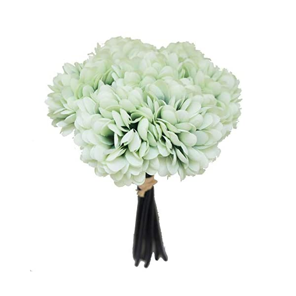 Lily Garden Silk Chrysanthemum Ball 7 Stems Flower Bouquet (Mint)