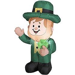 3.5' St Patricks Day Leprechan Irish Leprechaun Airblown Inflatable Lighted Decoration