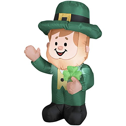 3.5′ St Patricks Day Leprechan Irish Leprechaun Airblown Inflatable Lighted Decoration by Gemmy