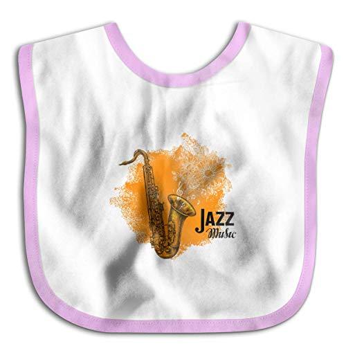 (FANRENYOU Jazz Music Classical Saxophone Newborn Baby Boys Girls Towel Bib Skin-Friendly Saliva Towel Bibs Black PinkOne Size )