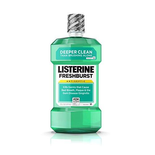 Freshburst Listerine Antiseptic Mouthwash Kills Bad Breath Germs, 1 L