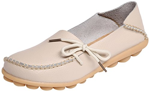 Serene Womens Beige Leather Cowhide Casual Lace up Flat Driving Shoes Boat Slip-On Loafers - Size 9.5 (Best Discount On Branded Shoes)