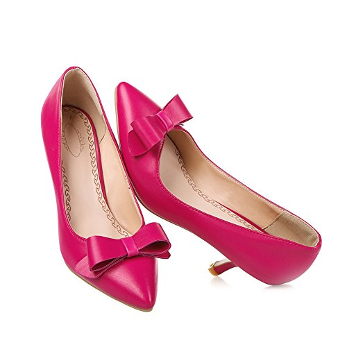 Lucksender Womens Pointed Toe Kitten Heels Fashion Pumps with Bowknot Rose Red 797gGpxV