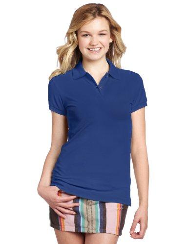 Burgundy XX-Large Classroom School Uniforms Junior Girls Short Sleeve Stretch Pique Polo