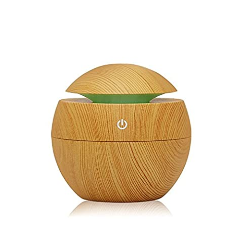 Wooden Aroma Diffuser Humidifier, VICTHY Essential Oil Diffuser Air Purifier Portable Grain 130ml Touch Sensitive 6 Color LED Lights Changing for Home, Office, Baby Room, (Baby Humidifier Air Purifier)