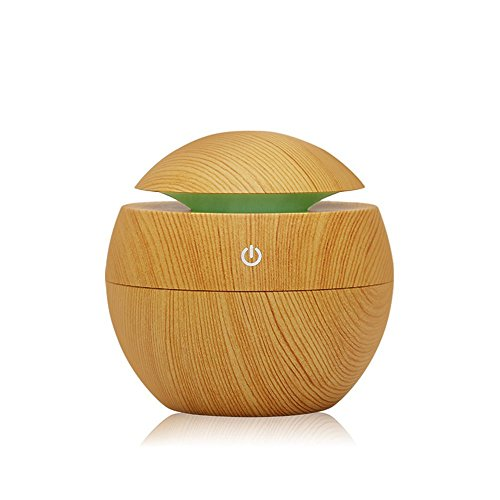 - Kmise USB Cool Mist Humidifier Ultrasonic Aroma Essential Oil Diffuser 130ml Light Wood Grain for Office Home Bedroom Living Room Study Yoga Spa