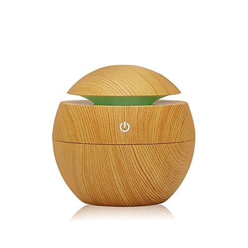 Kmise USB Cool Mist Humidifier Ultrasonic Aroma Essential Oil Diffuser 130ml Light Wood Grain for Office Home Bedroom Living Room Study Yoga Spa