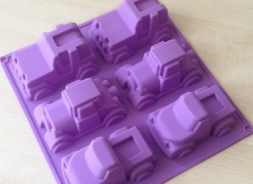 Shoprt 6 Truck Jeep Car Shape Silicone Cake Baking Mold Cake Pan Muffin Cups Handmade Soap Moulds Biscuit Chocolate Ice Cube Tray DIY Mold