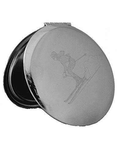 Skier Engraved Compact Mirror Skiweb