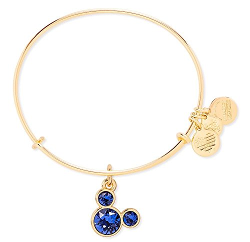 - September Birthstone Mickey Mouse Icon Disney Alex & Ani Charm Bracelet (Gold)