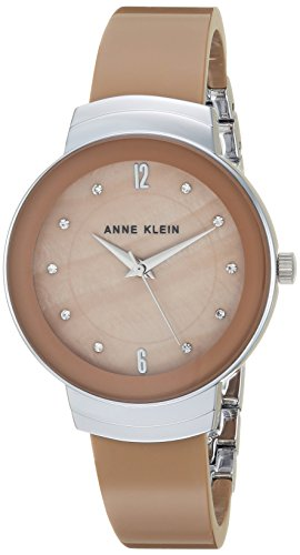 Anne Klein Women's AK/3107TNSV Swarovski Crystal Accented Silver-Tone and Tan Resin Bangle -