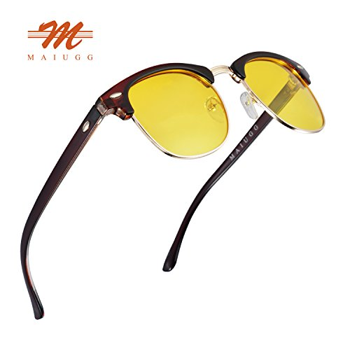 Night Driving Glasses Anti Glare Polarized Sunglasses HD Yellow Lens for Night Safety Glasses (Brown, - Best Sun Sunglasses Glare For
