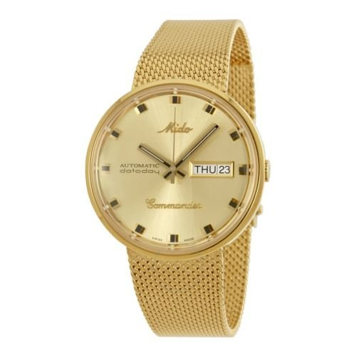 Mido M84293222 Commander Ladies Watch - Gold Dial Stainless Steel Case Automatic Movement