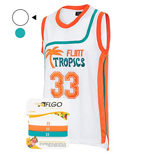 Nba Halloween Costumes (AFLGO Moon #33 Flint Tropics Basketball Jersey S-XXXL White, 90's Clothing Throwback Will Smith Costume Athletic Apparel Clothing Stitched - Top Bonus Combo Set with Wristbands (White,)