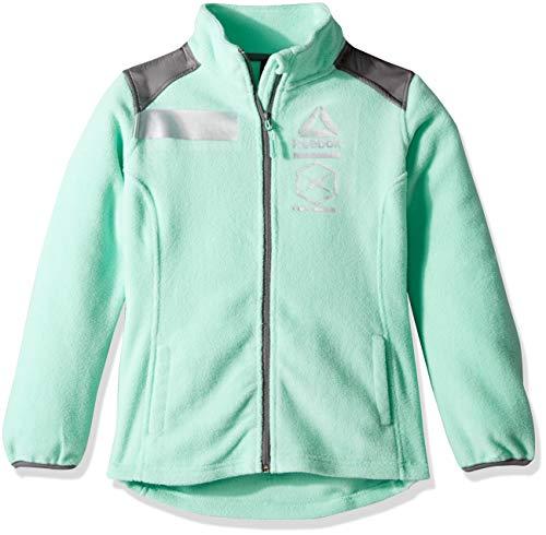 Reebok Girls' Little Active Polar Fleece Jacket with Reflective Details, Mint 5/6 - Fleece Reflective Jacket