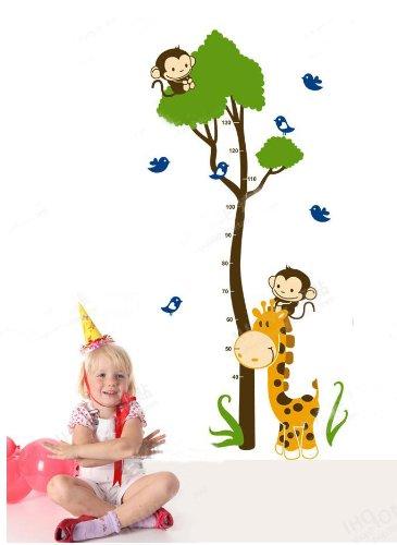 XL! Affe Baum Growth Chart, Maßband Messlatte Wandtattoo Wandaufkleber Wandsticker Kinderzimmer Geschenk Bogen Gr. 60*90cm