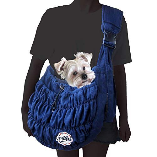 Alfie Pet – Tyler Pet 1-Sided Mesh Sling Carrier – Color: Navy
