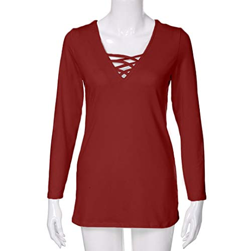 LGante Taille Femme Sexy Chic Shirt Manche Unie T Rouge Casual Chemisier Lacer Tops Blouse Grande Longue Couleur IIrwP
