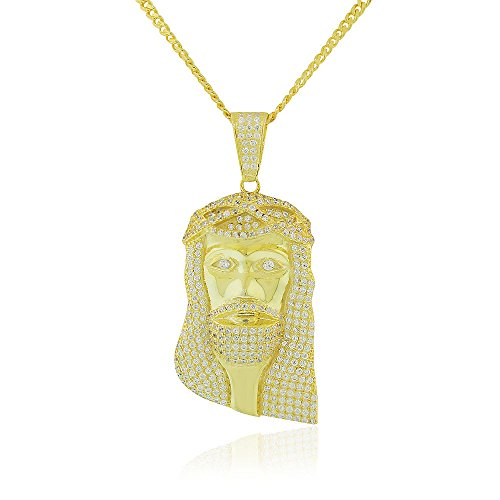 925 Sterling Silver Yellow Gold-Tone Large Hip-Hop Religious Jesus Mens Pendant Necklace, 36'' by My Daily Styles