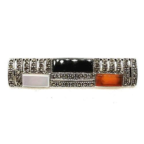 3-Stones PIN: Carnelian Onyx Mother-of-Pearl PIN Marcasite .925 Sterling Silver ВК-1 ()